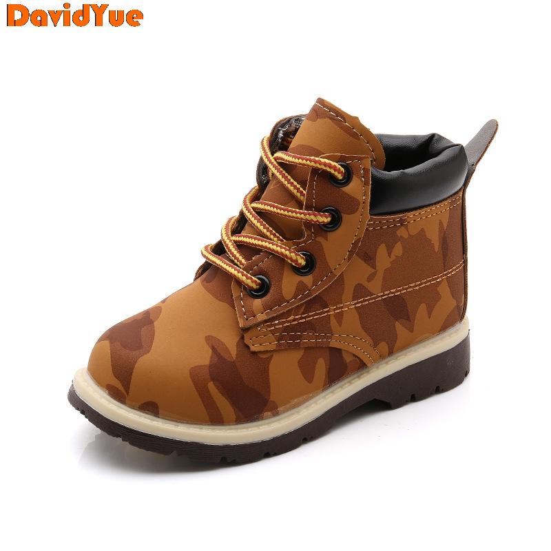 Davidyue  New Arrival Kids Children Martin Army Boots   Girls Boys Baby Winter  Tenis Infantil Boots Flat Shoes