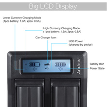 NP-F970 Dual Channel Digital Camera Battery Charger w/ LCD Display for Sony NP-F550/F750/F950/ NP-FM50/FM500H/QM71
