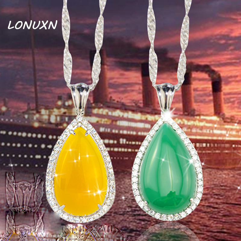 2 colors 925 sterling silver jewelry yellow women jewelry necklace with chain pendant natural green chalcedony girls gift