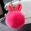 New Pompon Fluffy Keychain Fashion Women Bag Rabbit Ear Fur Pom Pom Keychain Phone Car Pendant Charm Key Chain porte clef