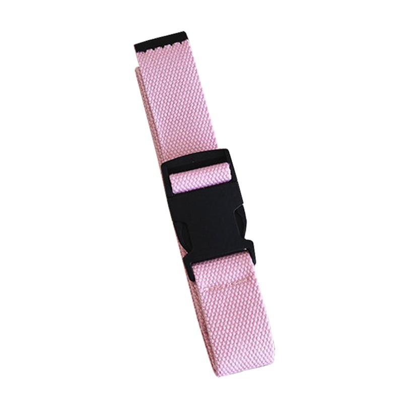 Adults Adjustable All-Match Belt Unisex Korean Style Canvas Belts Vintage Plastic Buckle Elastic Solid Color Long Waistband - Цвет: Розовый