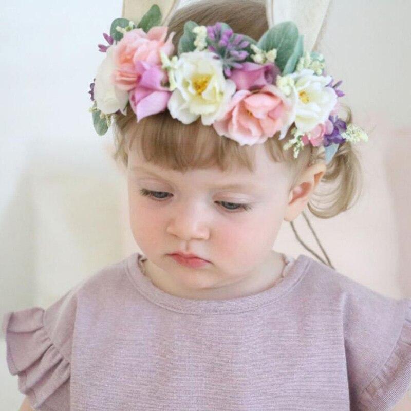 Baby Fabric Rose Flower Headband Bunny Rabbit Ears Headbands For Girls Children Floral Crown Headwear Hair Bands Accessories