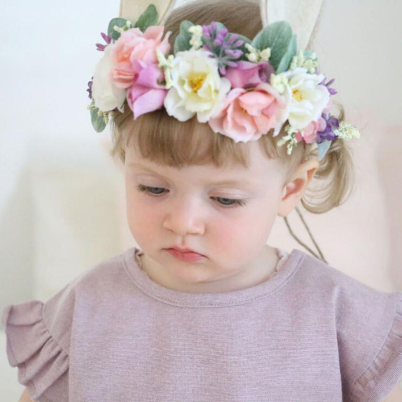 Baby Fabric Rose Flower Headband Bunny Rabbit Ears Headbands For Girls Children Floral Crown   Headwear   Hair Bands Accessories