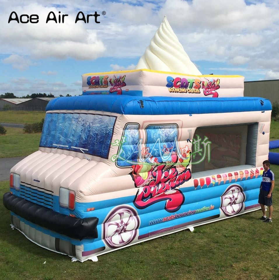 Outdoor Fun & Sports Supply Amusement Inflatable Mobile Ice Cream Truck,shopboard Concession Booth/vendor Space/ice Cream Vans Tent For Summer Toy Tents
