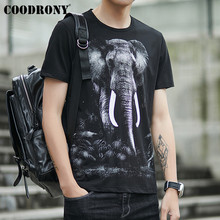 COODRONY Summer Casual Streetwear T Shirt Men Hip Hop 3D Elephant Tshirt Short Sleeve T-Shirt Cotton O-Neck Tee S95083