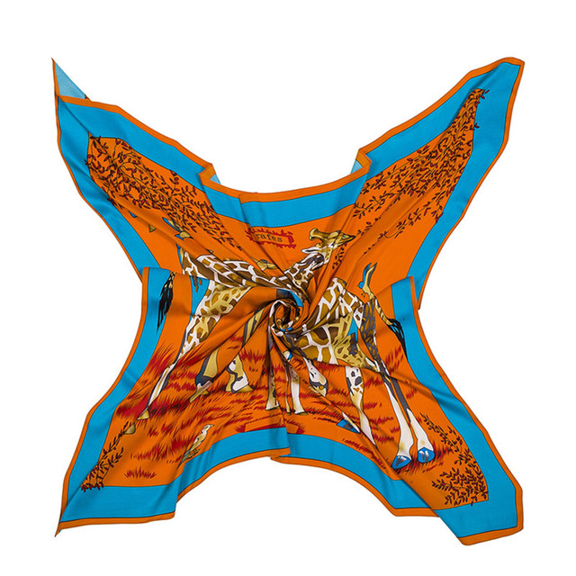 Large Silk Scarf Giraffe | Lightweight Scarves | Up to 60% Off Now