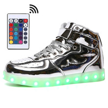 High Top LED Shoes Men Romote Control  Light Up Glowing Flash 11 Gold color Boots Unisex Hot Fashion Silver Leather