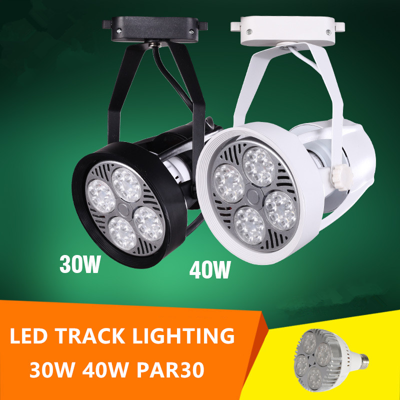 LED Track lighting with par30 30w 40w spot lamp led bulb for indoor lighting clothes jewel shop restaurant dining room led par30 lamp 30w 40w 50w track light flood light bulb par30 e27 cob osram led warm white spot lamp for kitchen clothes shop