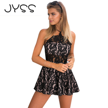 JYSS New Hot Sexy Lace Perspective Jumpsuit for girls Backless wide-leg Camis halter stretchy Sleeveless quick Jumpsuit 80711