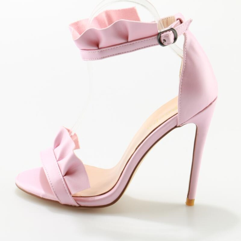 Sexy Pleated Pink Woman High Heel Sandals Pointed Open Toe Buckle Strap Shoes 2018 Fashion Sweet Concise Dress Party Shoes hot selling pleated bling woman sandals fashion high heel slipper open toe slide dress sandals concise comfortable sandals
