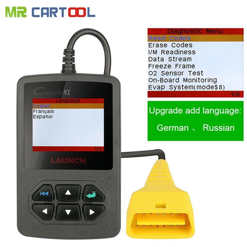 Original Launch Creader VI OBDII Code Scanner Creader 6 Fault Code Reader OBD 2 Diagnostic- Tool Online Update Free Shipping