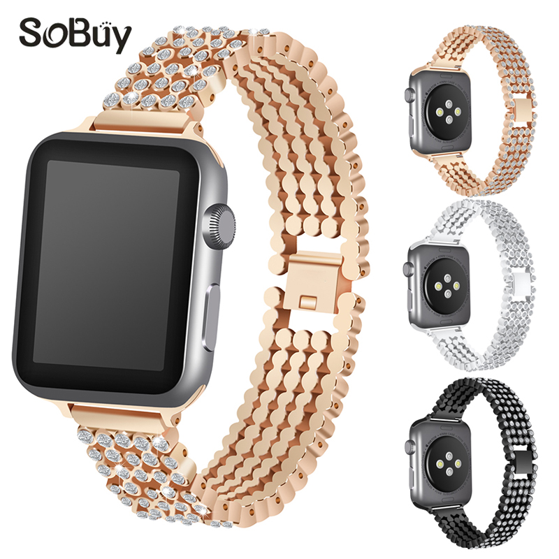 So buy inlay diamond stainless steel Link bracelet for apple watch iwatch 1/2/3 series band 42/38 mm wirst strap metal watchband цена