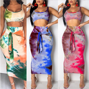 2Pcs Set Women Clothes Suit Ladies Summer Sleeveless Crop Top Bandaged Skirt Streetwear Clubwear(China)