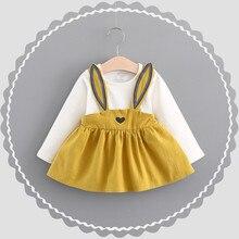 Платье с кроликом для детей от 0 до 3 лет, Осенний детский бандажный костюм с милым кроликом для маленьких девочек мини-платье, платье-пуловер 827