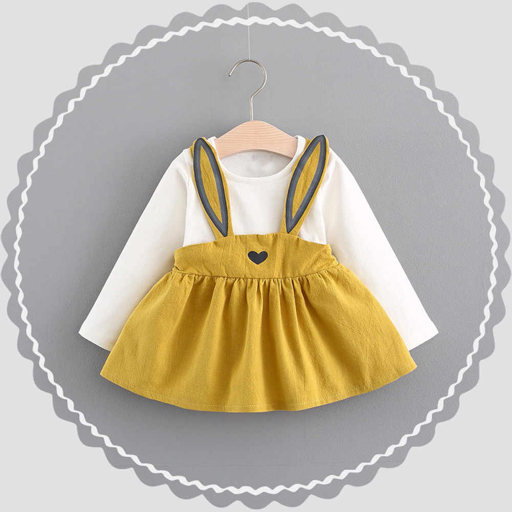 Rabbit Dress 0-3 Years Old Autumn Baby Kids Toddler Girl Cute Rabbit Bandage Suit Mini Dress  Pullover Dress 827