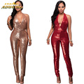 Adogirl 2017 Autumn Winter Sequins Sleeveless Halter Women Suit Fashion Jumpsuits Casual Bodycon Bandage Sexy Rompers Jumpsuits
