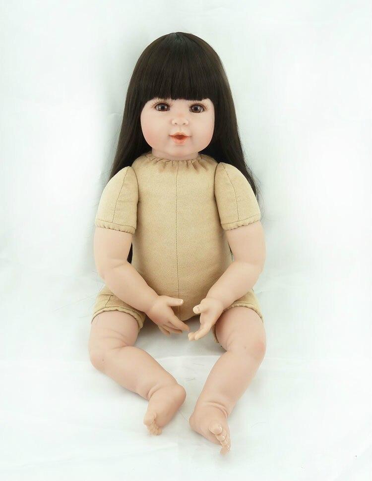 20 pouces Silicone souple Reborn bébé poupées corps réel doux toucher bricolage recueillir poupée jouets Long cheveux humains Puzzle jouets cadeaux de noël