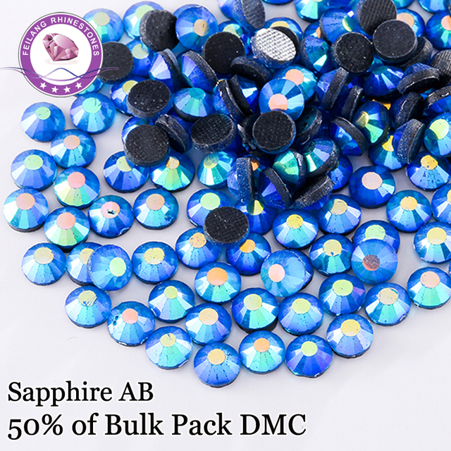 Promotion! SS6 -SS30 Sapphire AB DMC High Quality Hotfix Rhinestones For Clothing Accessories DIY Decoration Iron On Stones