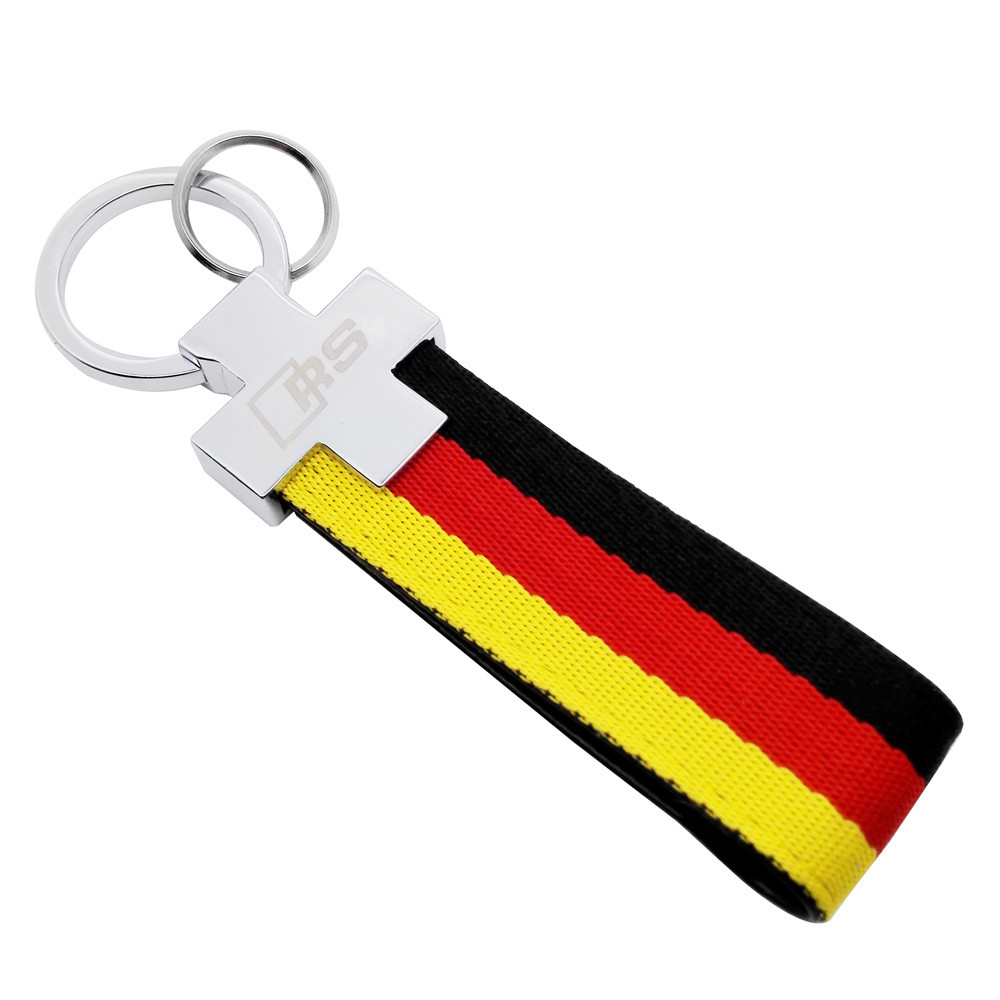 Car Keychain For Audi RS RS3 RS4 RS5 RS6 RS7 RSQ C5 C6 B4 A3 A5 A6 Q5 Braid Stripe Key Holder German Flag Key Ring Car Styling