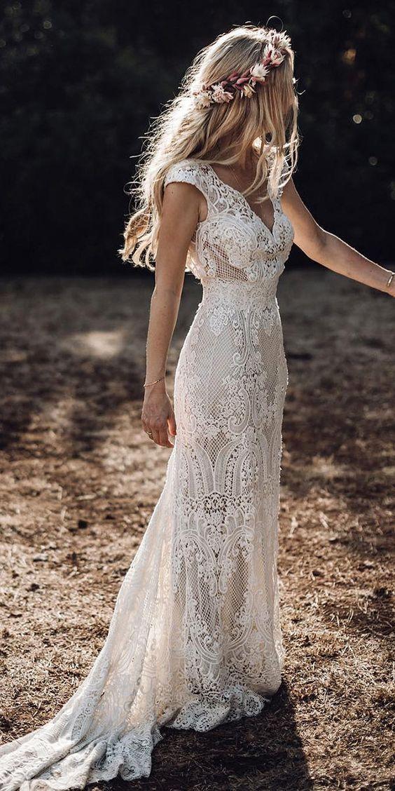 Image 2 - Robe De Mariage Wedding Dresses Boho 2019 Lace Chic Bohemian Wedding Dress Bridal Gowns Vestidos De Novia-in Wedding Dresses from Weddings & Events