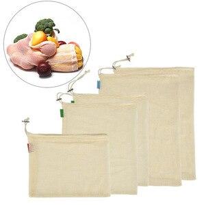 Image 1 - Reusable Produce Lagerung Tasche Eco Freundliche Baumwolle Mesh Taschen Obst Gemüse ecologico Lagerung Taschen Hause Küche Veranstalter