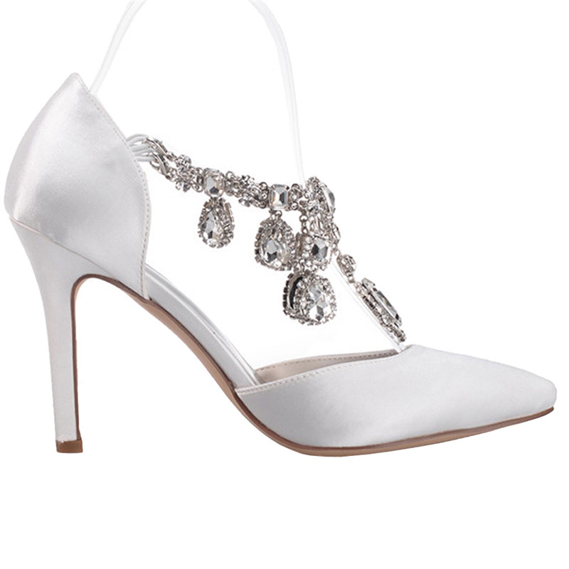 LOSLANDIFEN Women Rhinestone Pendant Ankle Strap Wedding Shoes 8CM High  Heels Satin Silk Pointed Toe Crystal Bridal Shoes-in Women s Pumps from  Shoes on ... 5c6027f36e87
