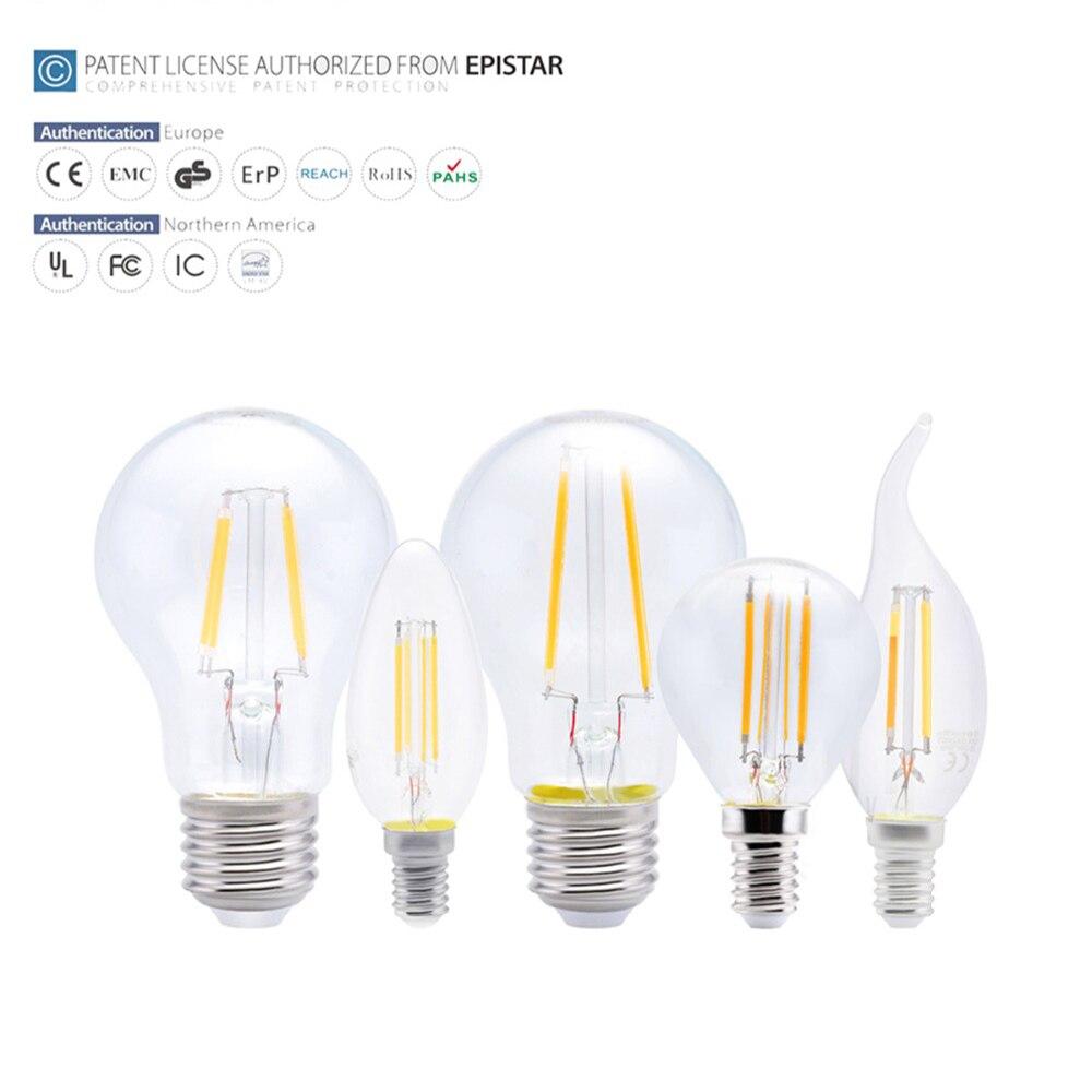 SOLLA E27 LED Filament Light Glass Housing Bulb E14 Lamp 220V 4W ...