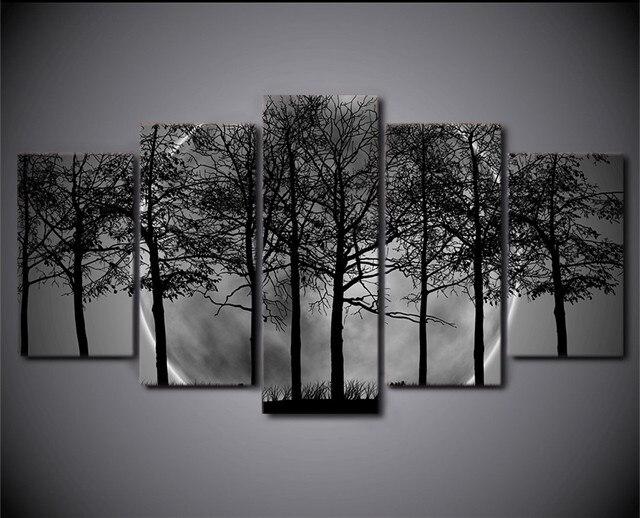 Hd dicetak 5 piece hitam dan putih kanvas lukisan art print poster abu abu psychedelic
