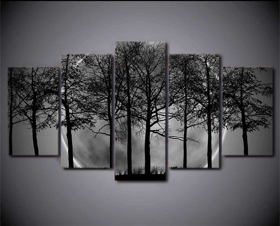 Buy hd printed 5 piece black and white Black and white canvas art