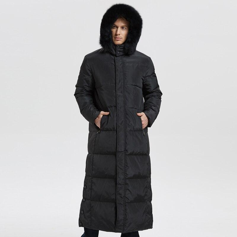 De haute Qualité Nouvelle Hiver Hommes Vers Le Bas Veste Extra Long Duvet de Canard Manteau Épaissir Chaud avec Réel Col De Fourrure Mâle outwear-30C CO100