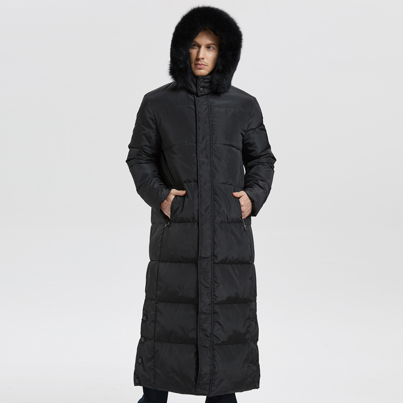 High Quality New Winter Men's   Down   Jacket Extra Long Duck   Down     Coat   Thicken Warm with Real Fur Collar Male Outwear -30C CO100