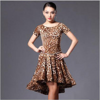 Latin Dance Costume Sexy Senior Ice Silk Short Sleeves Latin Dance Dress For Women Latin Dancing