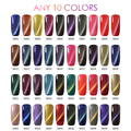 Belle Fille 10Pcs 10ml Cat Eyes Gel Polish Magnetic UV LED Fingernail Art Lacquer 60 Colors Gel Varnish Bling Cat Eyes Nail Art
