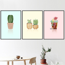 Monstera Succulents Cactus Watercolor Nordic Posters And Prints Wall Art Canvas Painting Pictures For Living Room Decor