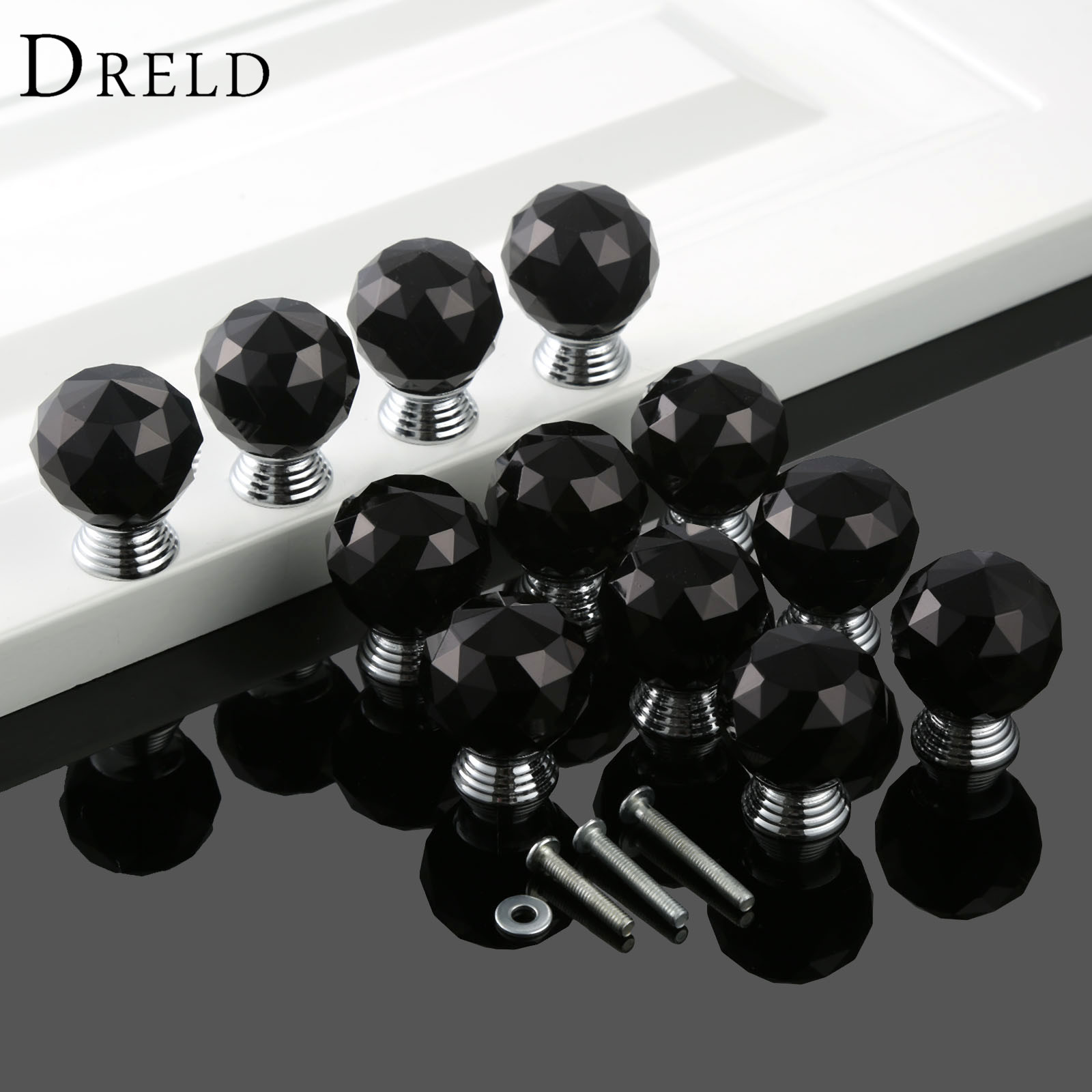 DRELD 12Pcs 30mm Round Black Crystal Diamond Cabinet Knobs and Handles Dresser Drawer Furniture Handles Door Knob + 36Pcs Screws 5pcs knobs 30mm clear crystal glass door handles diamond drawer cabinet furniture kitchen knob with screws