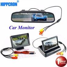 4.3 นิ้วรถ Monitor ที่จอดรถย้อนกลับกล้อง TFT LCD HD จอแสดงผล/พับ/กระจก Video PAL/NTSC