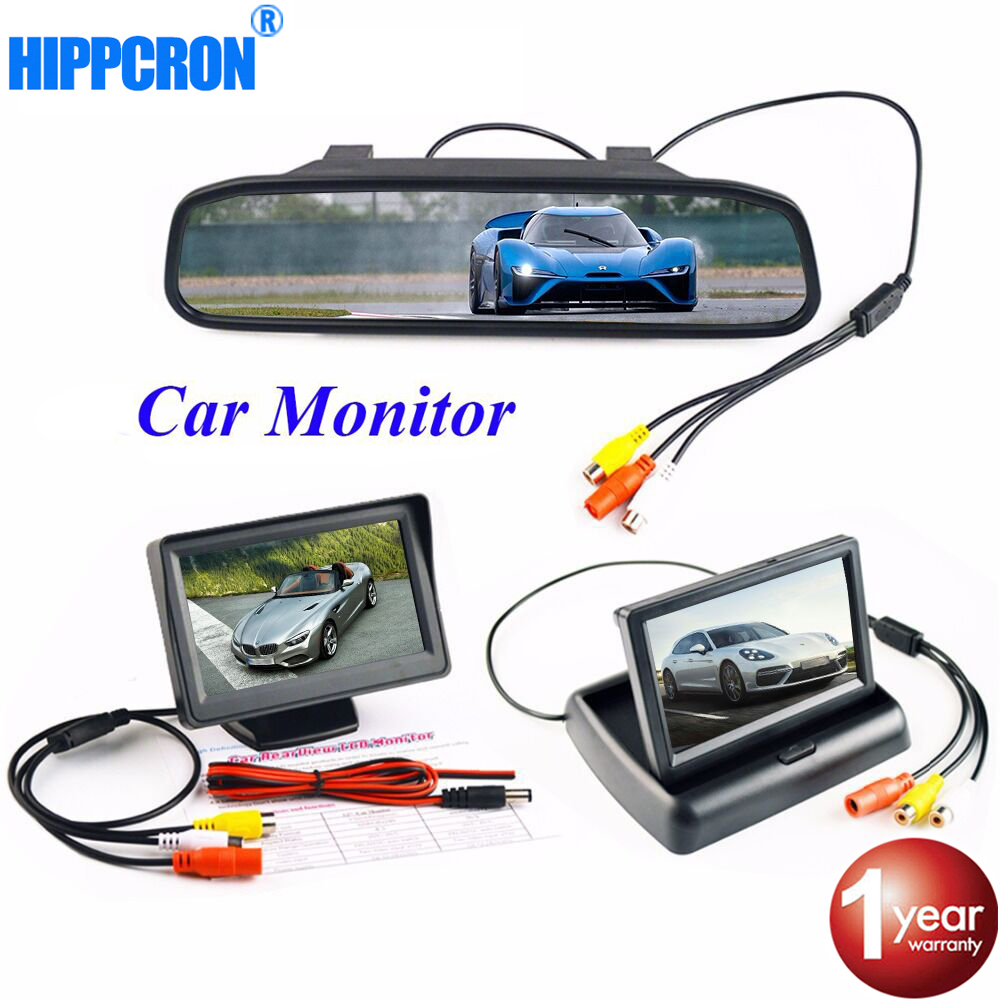 Hippcron 4.3 Inch Car Monitor Parking reverse camera LCD TFT HD Display Desktop / Foldable / Mirror Video PAL/NTSC цена