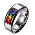 Male Summer Fine Coloful Jewelry Size 6-13 Gorgeous Rainbow Silver Titanium Steel Rings For Men Bague Homme Whosesale R020