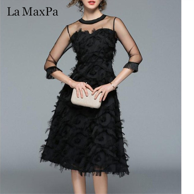 Sexy Mesh Midi Dress Fashion Hollow Out Dresses New Autumn Women Tassel feather casual slim vintage party vestidos