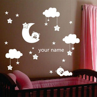 W238 Moon And Star Vinyl Wall Stickers For Nursery Room Personalized Name Cute Smiling Stars With