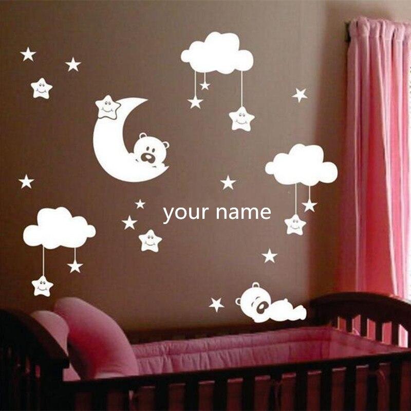 W238 Pegatinas de pared de vinilo de la luna y la estrella para la habitación del vivero Nombre personalizado lindas estrellas sonrientes con nubes blancas decoración de la habitación del bebé