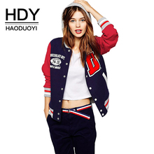 HDY Haoduoyi 2017 Autumn Fashion Women Letter Print Color Block Hooded Bomber Jacket Long Sleeve Single Sibgle Breasted Coat
