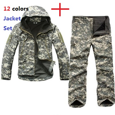 Homens esporte ao ar livre tad engrenagem escudo macio camuflagem tático conjunto jaqueta exército à prova dwaterproof água roupas de caça casaco militar calças jaqueta