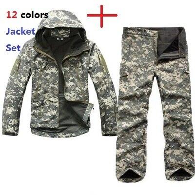 Для мужчин Спорт на открытом воздухе TAD шестерни мягкий в виде ракушки камуфляж тактическая куртка комплект армия водостойкая Охота Одежда ...