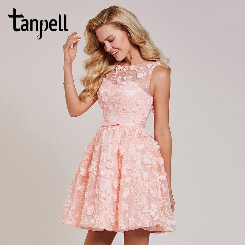Tanpell Короткие вечерние платья розовый Кружева Совок рукавов выше колена Line платье Женщины Вышивка коктейль платья