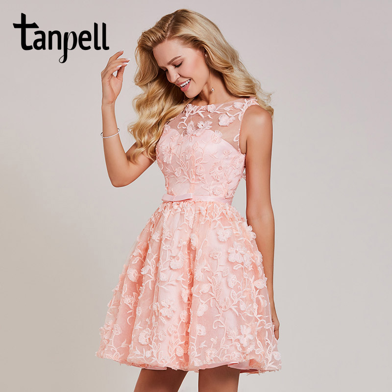 Tanpell short homecoming dress pink lace scoop sleeveless above knee a line gown women embroidery cocktail homecoming dresses