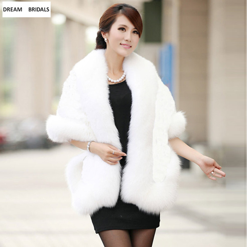 2019 Black White Burgundy Winter Casual Occasion Shawl Bridal Wrap&Jackets Cloak Daily Wear Winter Warm Faux Fur Wedding Coat