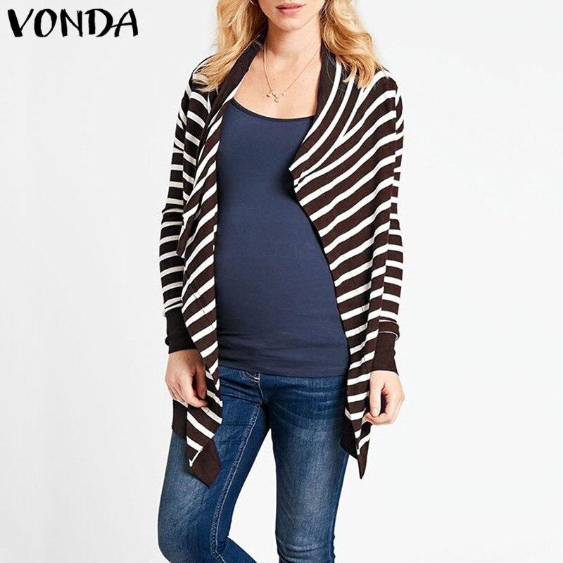 VONDA 2018 Autumn Maternity Clothings Pregnant Women Casual Loose Long Sleeve Striped...