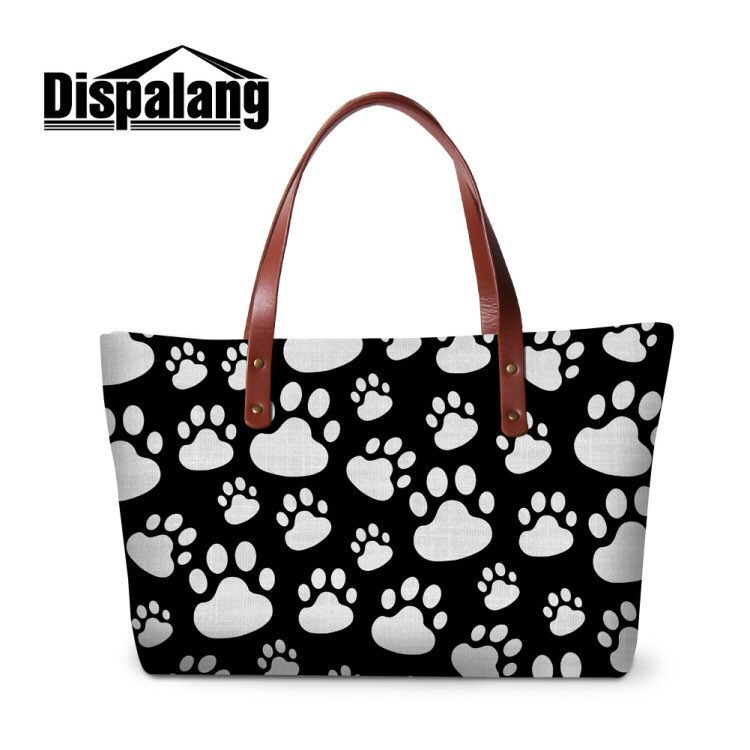 Dispalang Brand Womens Handbags Cat Paw Print Female Large Capacity Tote Bag Fashion Ladies Shoulder Bag Cute Shopping Bag ...
