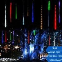 Outdoor LED Solar Shooting Star Strip Light Waterproof Twinkling String Colorful Neon Christmas Tree Party Garden